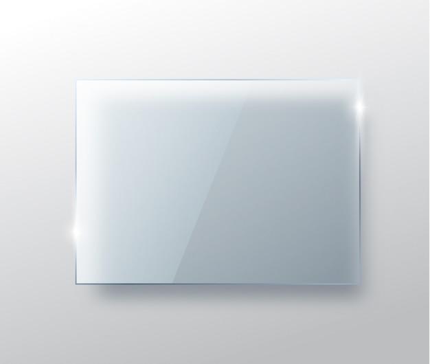 Szklany talerz na przezroczystym tle. realistyczne przezroczyste szklane okno. szklany baner