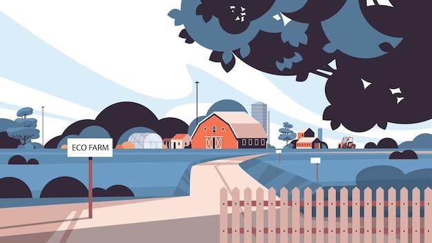 Szklarnia i budynki gospodarcze ekologiczne rolnictwo ekologiczne koncepcja rolnictwa wiejskie tereny rolnicze krajobraz poziomy ilustracji wektorowych