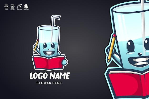 Szkło czytać książkę ładny projekt logo maskotki