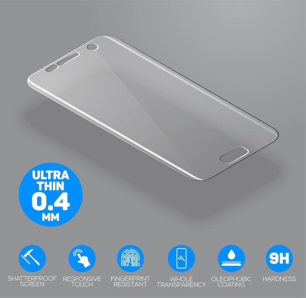 Szkło ochronne na ekran. folia ochronna na ekran lub szklana osłona na białym tle na szarym tle. mobilne akcesorium.