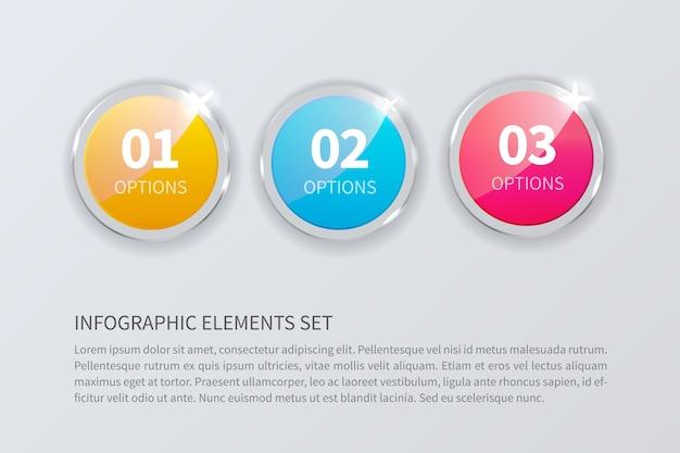 Szkło okrągłe numery ustawione na białym tle na szarym tle. realistyczne dla infografiki. liczba opcji.
