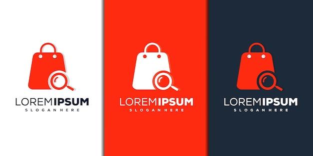 Szkło powiększające i sklep nowoczesny projekt logo