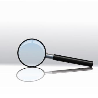 Szkło powiększające na białym tle na przezroczystym tle. zestaw.