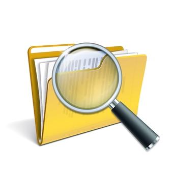 Szkło powiększające na żółtym folderze