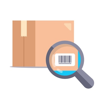 Szkło powiększające sprawdzające kod kreskowy na tekturowym pudełku. płaska ilustracja