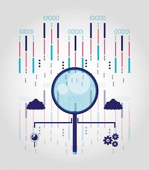 Szkło powiększające z centrum danych i obwodami