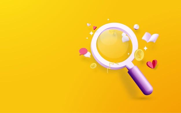 Szkło powiększające z ikonami elementów mediów społecznościowych na żółtym tle. koncepcja analizy danych. ilustracja wektorowa