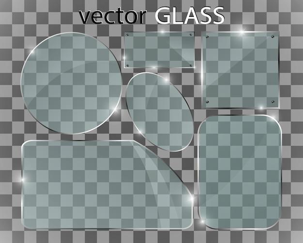 Szkło przezroczyste tło. pusta rama z przezroczystego szkła.