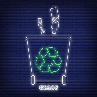 Szkło recykling odpadów sortowanie pojemnik ikona blask neonowy styl, ilustracja wektorowa płaskie etykiety ochrony środowiska, na czarnym tle. kosz na śmieci z zielonym symbolem eko.