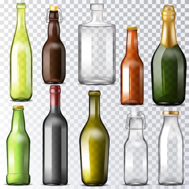 Szkło wektor butelki szklane butelki z wodą i bańki lub słoik do napojów