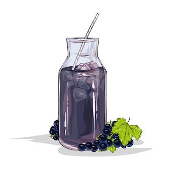 Szkło z smoothie porzeczki na białym tle na białym tle. owoce i jagody, lato, jedzenie i picie. ilustracji wektorowych.