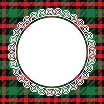 Szkocka krata tło z białą koronką okrągłą ramką
