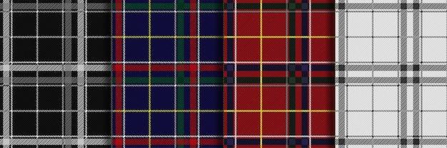 Szkocki kratę w kratkę bezszwowe wzory ustawić wektor powtarzania tła