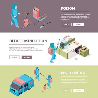Szkodnik. banery reklamowe dotyczące bezpieczeństwa chemicznej dezynfekcji trucizn. ilustracja prewencja i eksterminator, służba ochronna