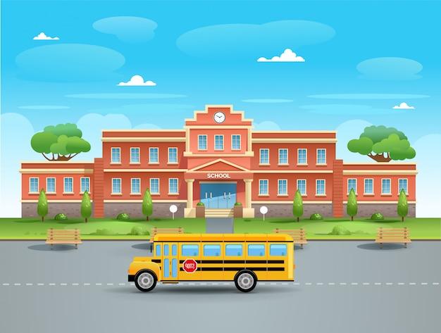 Szkoła. autobus szkolny w szkole