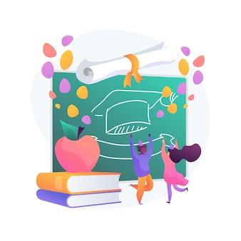 Szkoła celebracja strony streszczenie ilustracja koncepcja. pomysł na świętowanie powrotu do szkoły, przyjęcie z okazji ukończenia szkoły, planowanie wydarzeń, zaproszenie na bal na koniec roku i dekoracje