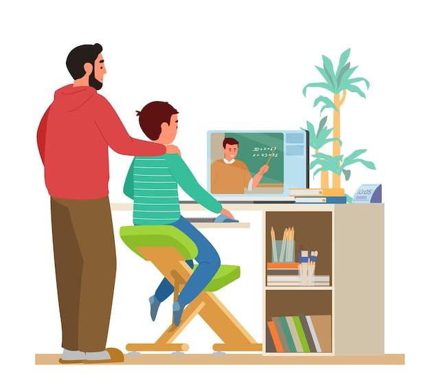 Szkoła domowa lub edukacja online tata lub nauczyciel z dzieckiem siedzącym przed laptopem