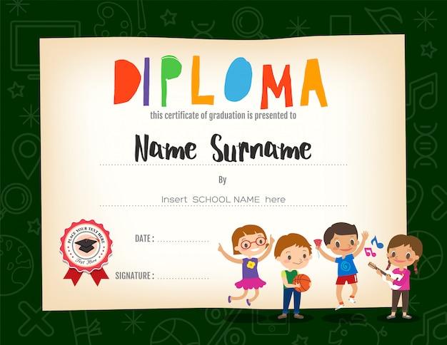 Szkoła dzieci dyplom certyfikat tło szablon projektu