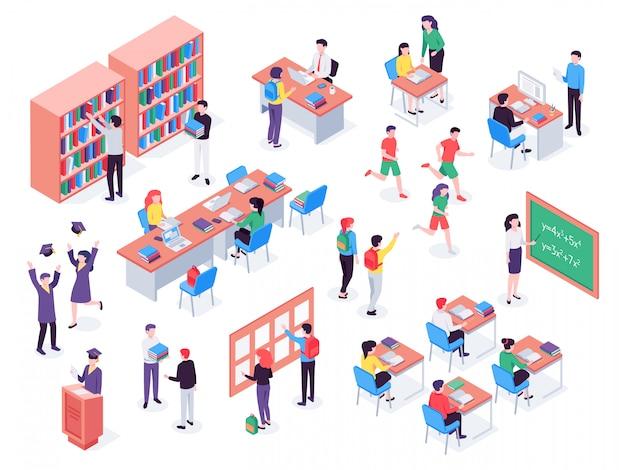 Szkoła. dzieci i nauczyciel w klasie, uczniowie w bibliotece szkolnej i zestaw ilustracji w klasie edukacji