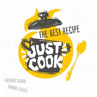 Szkoła gotowania, zajęcia kulinarne, studio, logo, naczynia, fartuch, widelec, nóż, mistrz kuchni. napis, logo kaligrafii, styl szkicu, witamy.