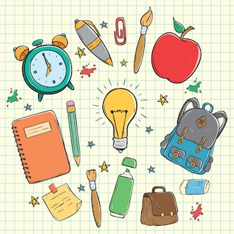 Szkoła ikony lub elementy kolekcja za pomocą kolorowania doodle sztuki na tle papieru