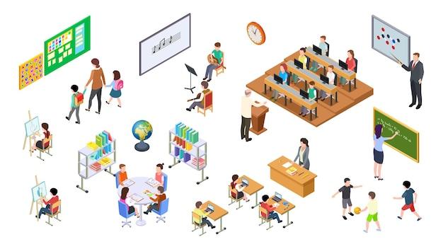 Szkoła izometryczna. 3d kolegium, rada nauczycielska i studenci. elementy uniwersyteckie, sala wykładowa i meble, stoły i krzesła. zestaw edukacyjny. edukacja ilustracja college, deska i meble