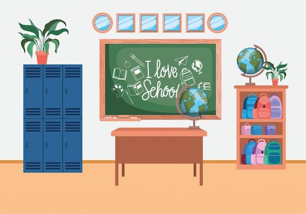 Szkoła klasowa ze sceną chalkboard