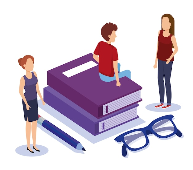 Szkoła książki z pracy zespołowej ludzi izometryczny