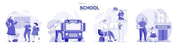 Szkoła na białym tle w płaskiej konstrukcji ludzie dostają edukację uczniów i studentów uczących się