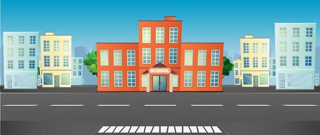 Szkoła na ilustracji miasta.