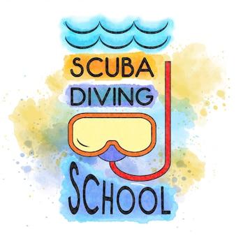 Szkoła nurkowania. plakat akwarela lato