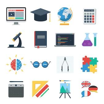 Szkoła online, e-learning. zestaw ikon szkoleń internetowych i studiów online.