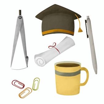 Szkoła papeterii i materiałów eksploatacyjnych zestaw akwareli. ręcznie rysować szkoła dostarcza ilustracji.