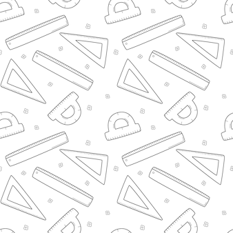 Szkoła prosty wzór z linijką, trójkątem, kątomierzem. matematyka, geometria. czarny biały