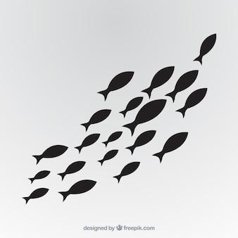 Szkoła ryba tło w ręka rysującym stylu