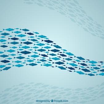 Szkoła ryby tło z głębokim morzem w stylu płaski