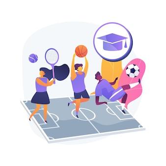 Szkoła sportowa ilustracja koncepcja streszczenie. klub dla dzieci w wieku szkolnym, konkurencyjne gry zespołowe dla dzieci, zajęcia pozalekcyjne, zawody lokalne, gimnastyka sportowa