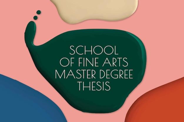 Szkoła sztuk pięknych szablon wektor kolor farby abstrakcyjne baner reklamowy
