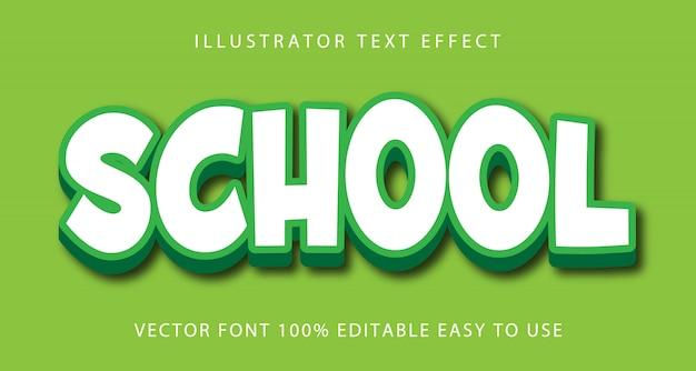 Szkoła wektor edytowalny efekt tekstowy