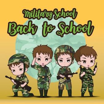 Szkoła wojskowa., powrót do szkoły. ładny chłopiec żołnierz armii ustaw kreskówkę.
