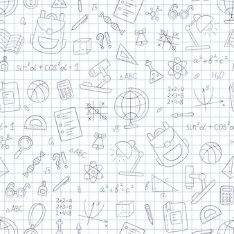 Szkoła wzór w stylu bazgroły. notebook w klatce. ręcznie rysowane foka
