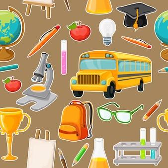 Szkoła wzór z elementami przyborów szkolnych na białym tle
