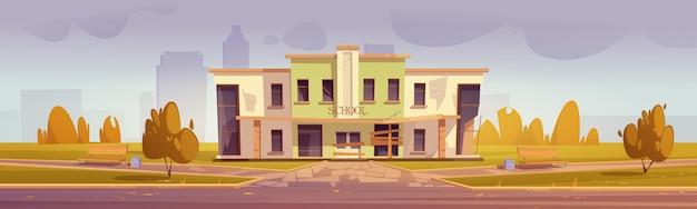 Szkoła z kreskówek stara i opuszczona