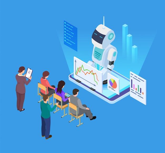 Szkolenia biznesowe ze sztuczną inteligencją. izometryczny wektor robota nauczyciela, koncepcja edukacji biznesowej