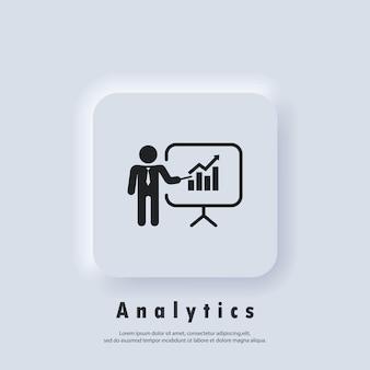 Szkolenia, ikona prezentacji. ikony prezentacji biznesowych. zawiera prezentera. ikona nauczyciela. ćwiczyć. wektor. biały przycisk sieciowy interfejsu użytkownika neumorphic ui ux. neumorfizm