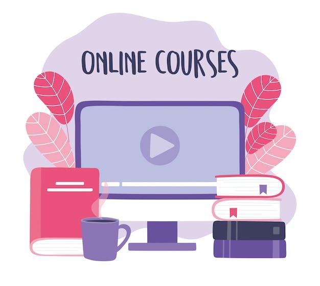 Szkolenia online, komputerowe książki wideo i filiżanka kawy, rozwijanie wiedzy o kursach za pomocą ilustracji internetowej