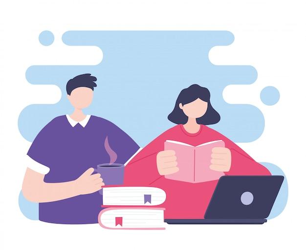 Szkolenia online, mężczyzna i kobieta, czytanie książki i laptopa, edukacja i kursy do nauki cyfrowej ilustracji