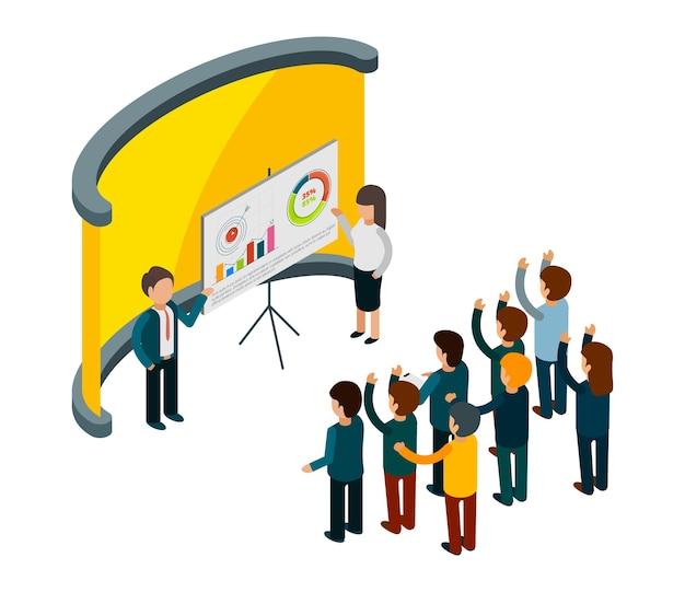Szkolenie biznesowe. coaching biznesowy izometryczny. wykładowcy i publiczność