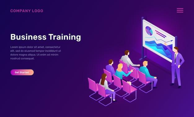 Szkolenie biznesowe izometryczny szablon sieci web