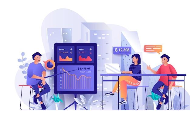 Szkolenie biznesowe płaska konstrukcja ilustracja koncepcja postaci ludzi